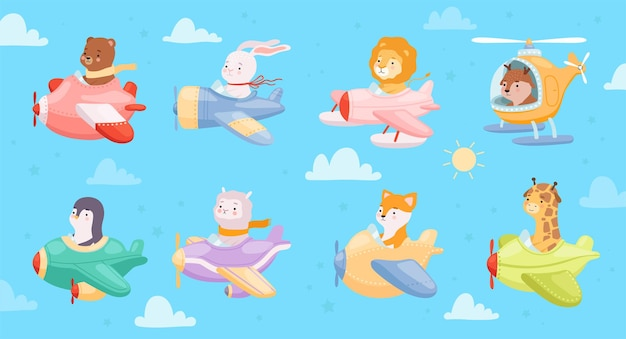 Kinderdieren vliegen in vliegtuigen en helikopterset