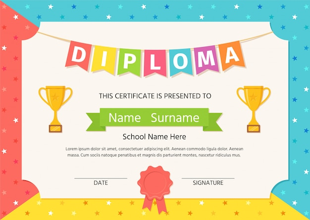 Kinderdiploma, certificaat. illustratie. leuke kleuterschool.