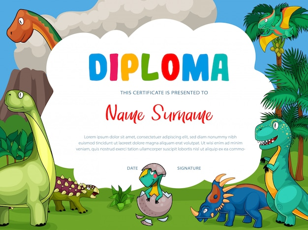 Kinderdiploma met cartoon schattige dinosaurussen