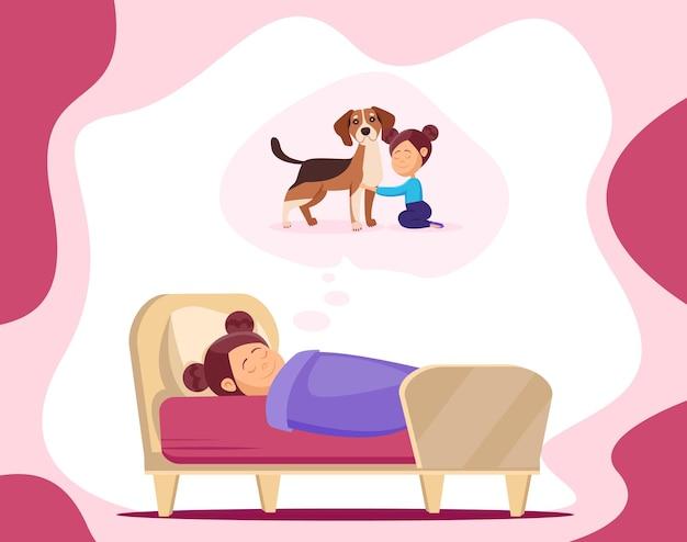 Kinderdroom. een klein meisje in een droom droomt van een hond.