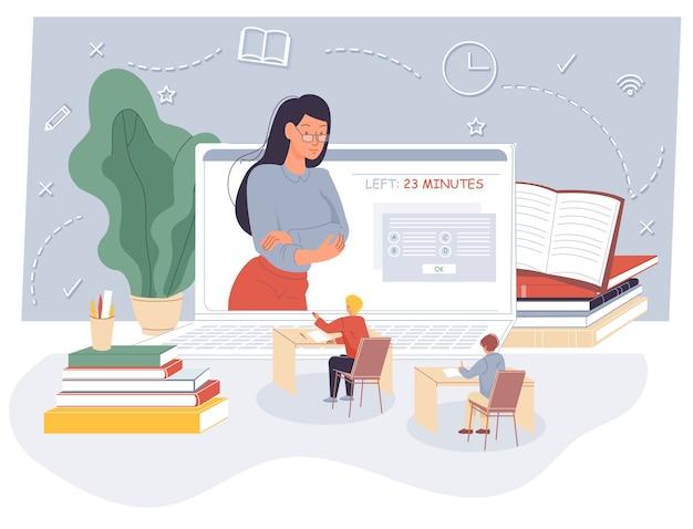 Kinderen afstandsexamen online op virtuele les.