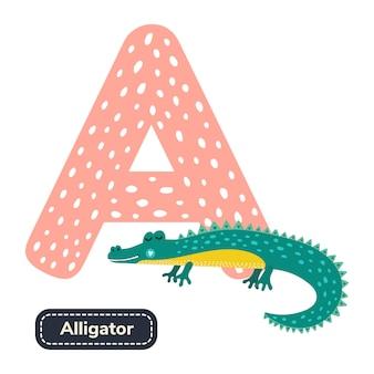 Kinderen alfabet. letter d. schattige cartoon alligator.