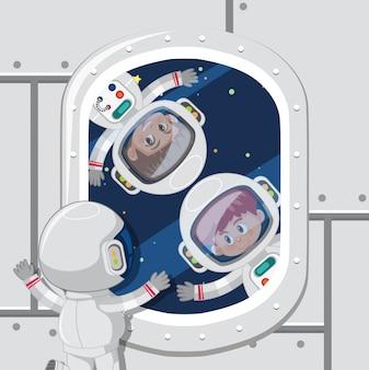 Kinderen astronauten in de ruimte