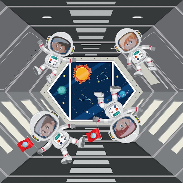 Kinderen astronauten in ruimteschip