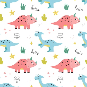 Kinderen baby naadloze patroon met schattige dinosaurussen. vector hand getekend gekleurde herhalende illustratie.