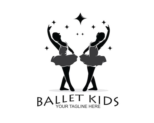 Kinderen ballet silhouet ontwerp logo