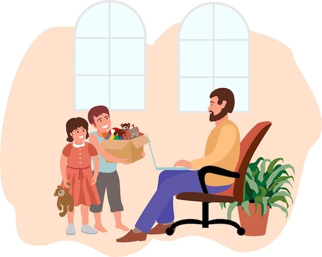 Kinderen bemoeien zich met werk, moeilijkheden met werken op afstand