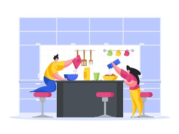 Kinderen bereiden van snacks in het concept van het keukenbeeldverhaal