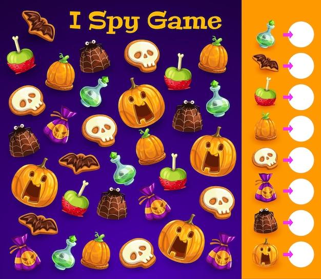 Kinderen bespioneer ik spelsjabloon met halloween-traktaties