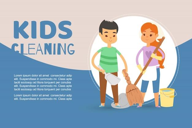 Kinderen bezig met het opruimen van appartementen en het helpen van moedersjabloon