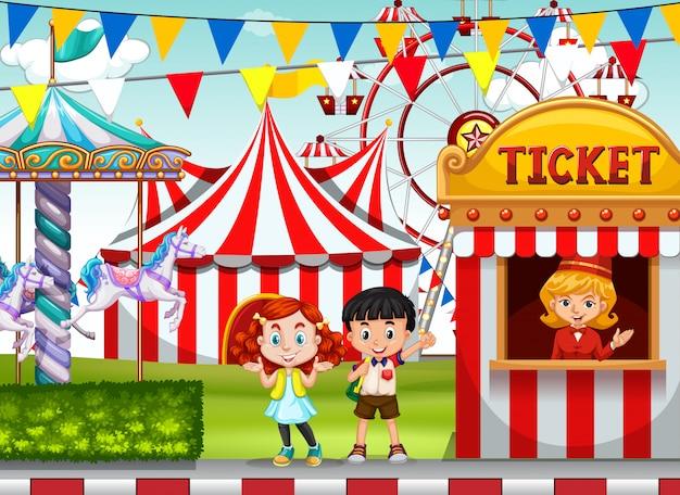 Kinderen bij de circus-kaartjesstand