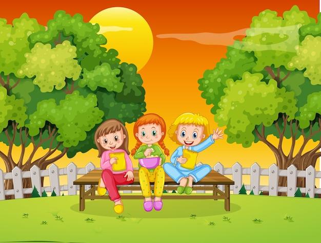 Kinderen bij ourdoor natuur achtergrond