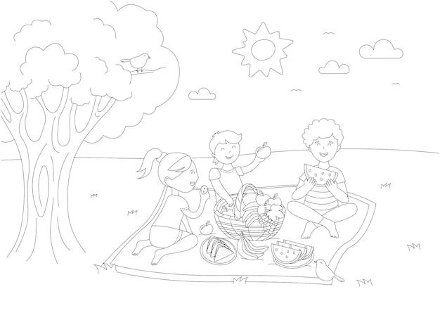 Kinderen bij picknick. vector zwart-wit kleurplaat.