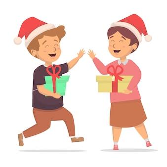 Kinderen blij als ze een kerstcadeau doos illustratie krijgen