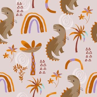 Kinderen boho naadloos patroon met dino en regenboog