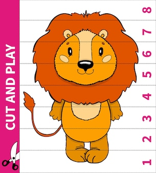 Kinderen bordspel dierenspel knippen en spelen voor nummer op zijn plaats voor werkbladen van kleuters en basisschoolleerlingen.