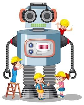 Kinderen bouwen robot samen op witte achtergrond