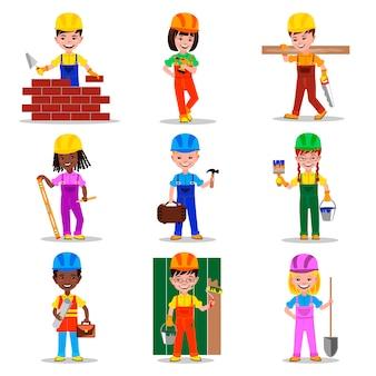 Kinderen bouwers tekens illustratie