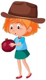 Kinderen cartoon karakter houden van fruit of groente geïsoleerd op een witte achtergrond