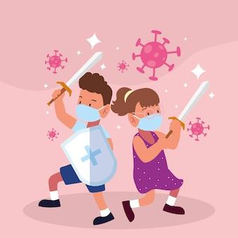 Kinderen covid vechten met maskers zwaarden