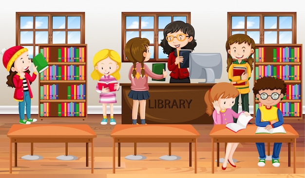 Kinderen die boeken in bibliotheek lezen