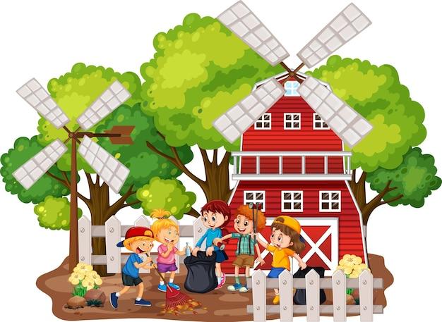 Kinderen die boerderijscène schoonmaken