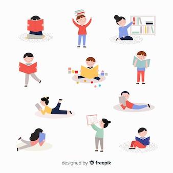 Kinderen die een boekenreeks lezen