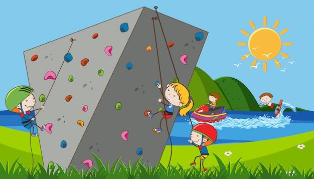 Kinderen die extreme sporten beoefenen
