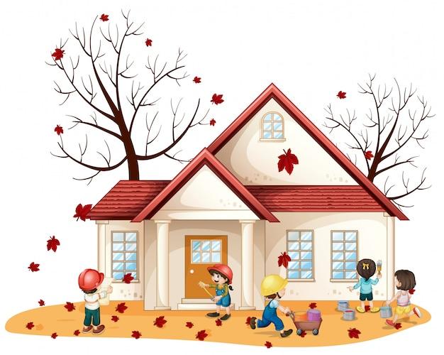 Kinderen die huis schoonmaken