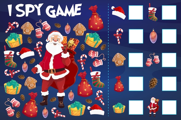 Kinderen die ik bespioneer spel met het tellen van kerstvoorwerpen. santa claus-karakter, kerstsok en sparrenkegel, peperkoekkoekjes, ornamentenbal en geschenkdozen, snoepgoed, wanten cartoon vector
