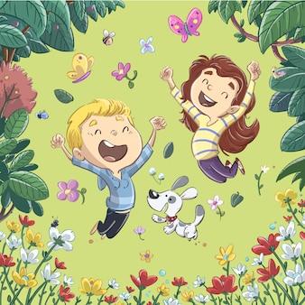Kinderen die in de lente springen