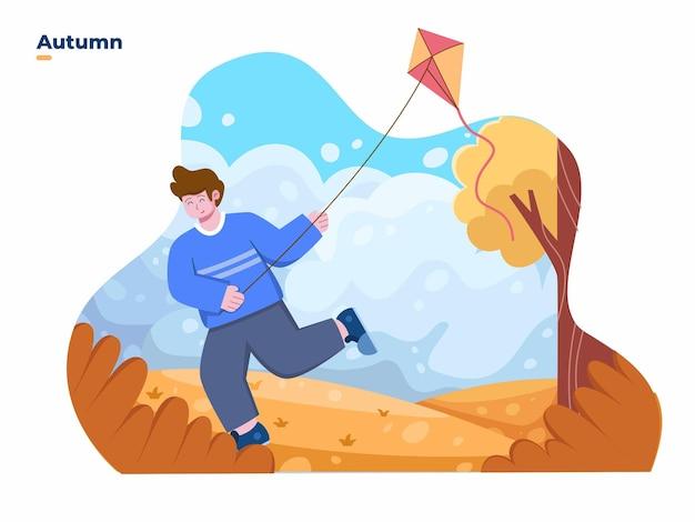 Kinderen die in het herfst- of herfstseizoen een vlieger spelen in het park met een prachtig landschap