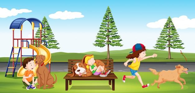 Kinderen die in het park rondhangen