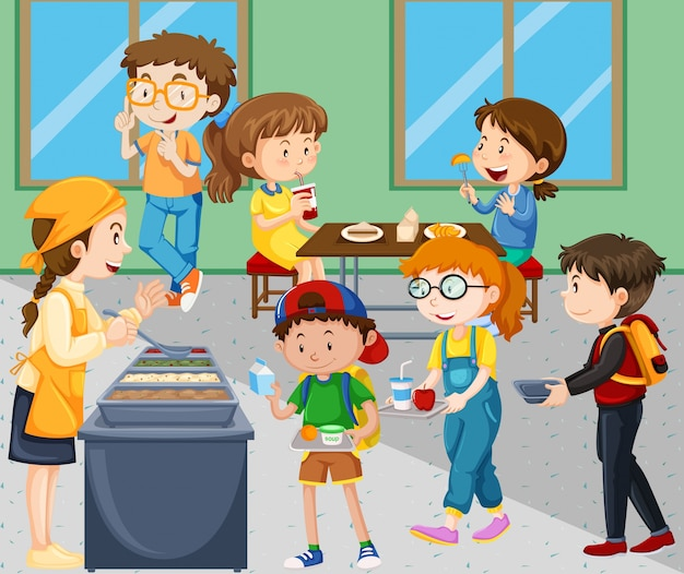 Kinderen die lunch in cafetaria eten