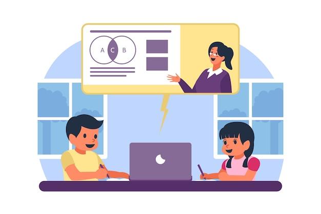 Kinderen die online lessen volgen