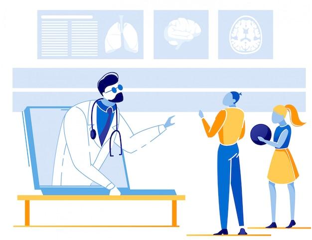 Kinderen die online overleg met arts hebben