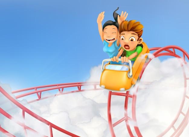 Kinderen die op een achtbaanachtergrond genieten