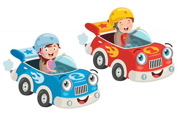 Kinderen die reizen met een grappige auto