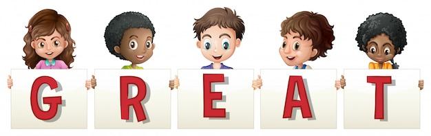 Kinderen die teken voor woord groot houden