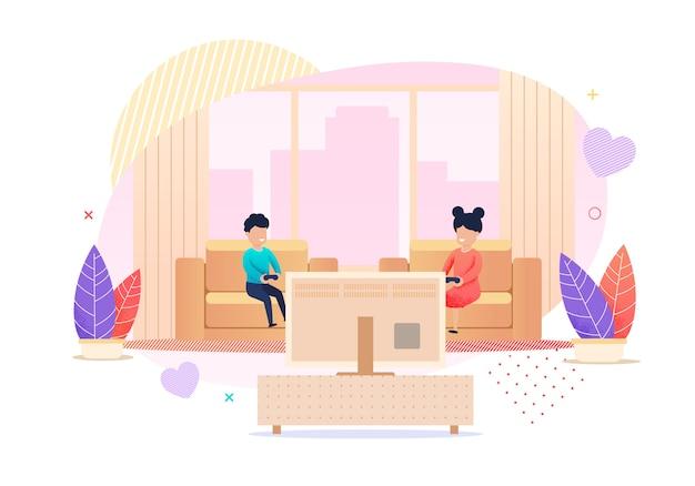 Kinderen die videospelletjes cartoon illustration