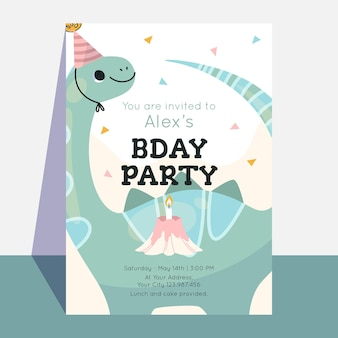 Kinderen dinosaurus verjaardag uitnodiging sjabloon