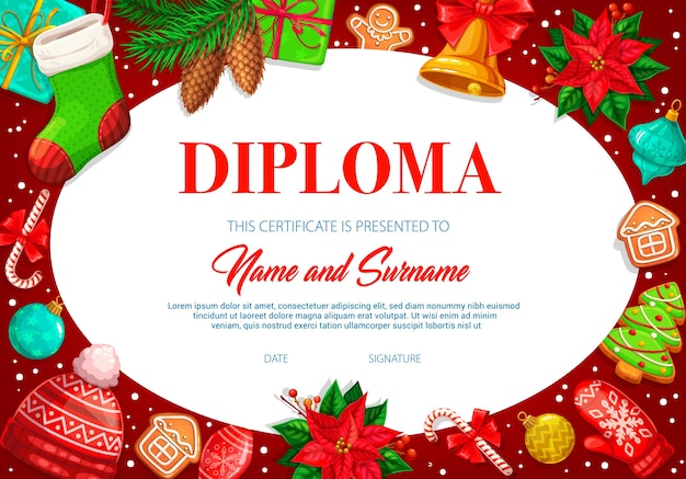 Kinderen diploma sjabloon met kerst sok