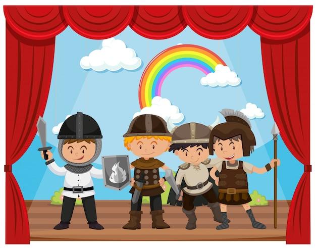 Kinderen doen drama show op het podium