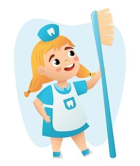 Kinderen dokter tanden met een tandenborstel kinderen vector illustratie met klein meisje dokter karakter