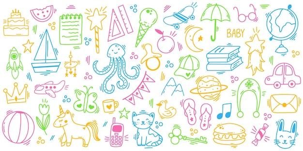 Kinderen doodle hand getekende schattige speelelementen. kleuterschool kinderen spelen doodle speelgoed, boeken, dieren vector illustratie set. grappige kindersymbolen