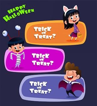 Kinderen dragen halloween-kostuums
