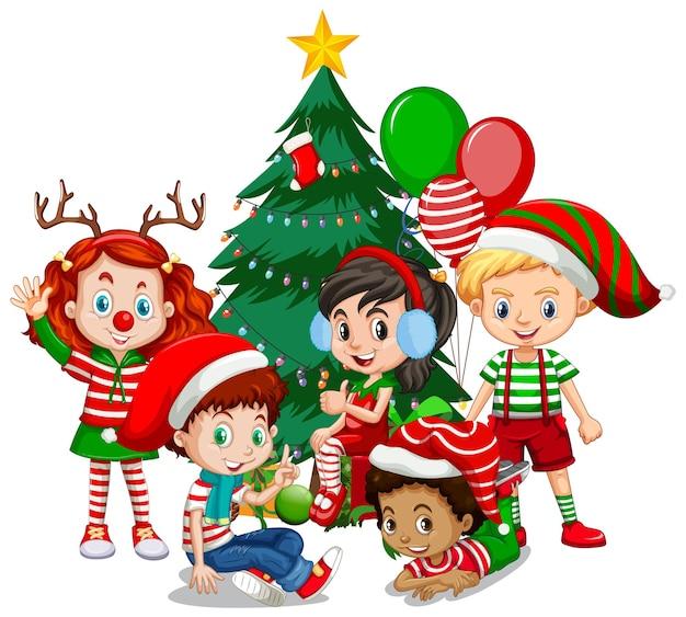 Kinderen dragen kerst kostuum stripfiguur met kerstboom op witte achtergrond