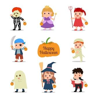 Kinderen dragen kostuums voor de viering van een schoolfeest. leuke jongen en meisje illustraties. illustratie op witte achtergrond.