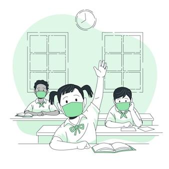 Kinderen dragen maskers op school concept illustratie