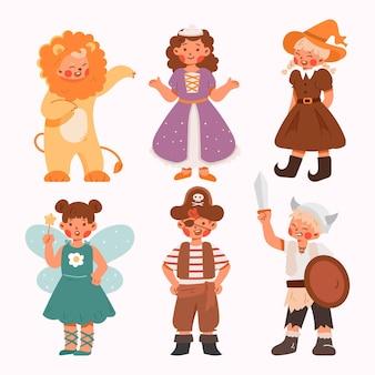 Kinderen dragen schattige carnavalskostuums